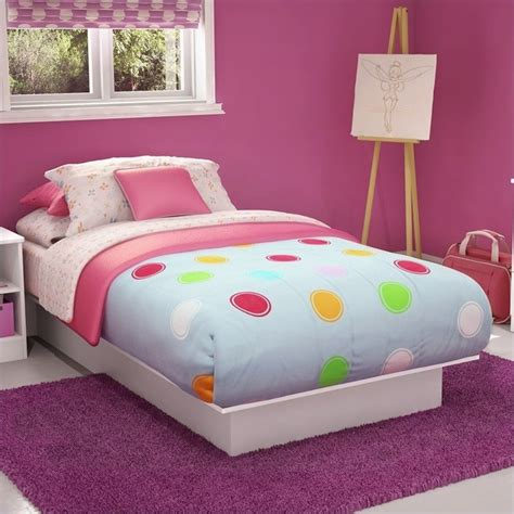 libra kids twin platform bed in pure white finish 3050235