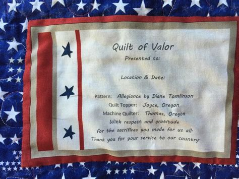 Quilt Of Valor Label by I Created This Quilt Of Valor Label For 1st Qov Quilt