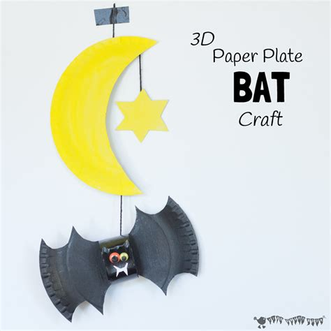 Bat Paper Plate Craft - paper plate bat craft and mobile craft room