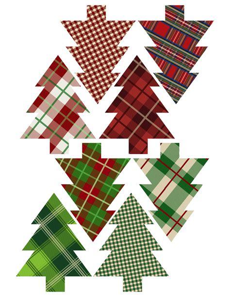 plaid christmas tree ornaments printable paper trail design