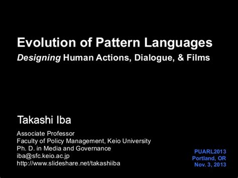pattern language for human computer interface design evolution of pattern languages designing human actions