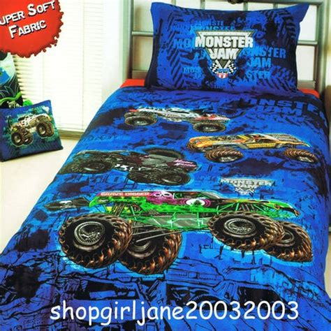 monster truck bed set monster jam truck mash grave digger single twin bed quilt