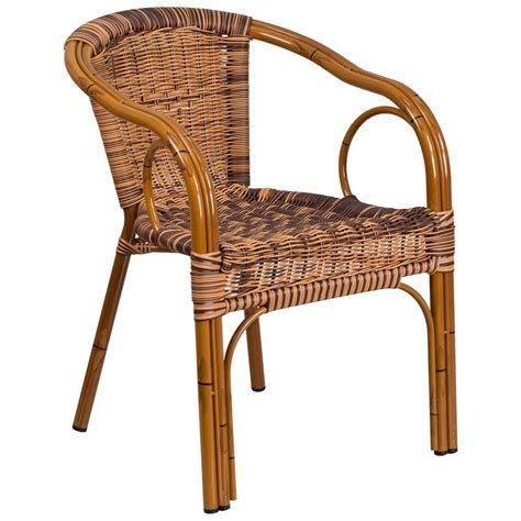 Aluminum Bamboo Patio Chair With Brown Rattan Brown Patio Chairs