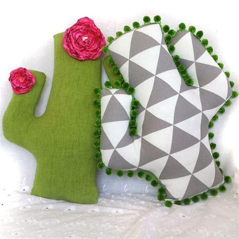 bold geometric cactus pillow original handmade    kind saguaro cushion soft sculpture