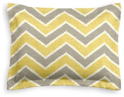 Yellow Chevron Pillow by Hazy Gray And Yellow Chevron Sham Pillow Cover