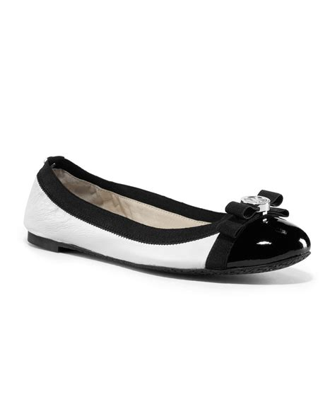 black and white flat shoes for lyst michael kors michael dixie captoe ballet flat in black