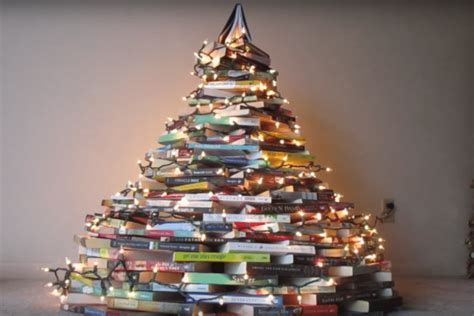christmas trees made of books are a literary dream come