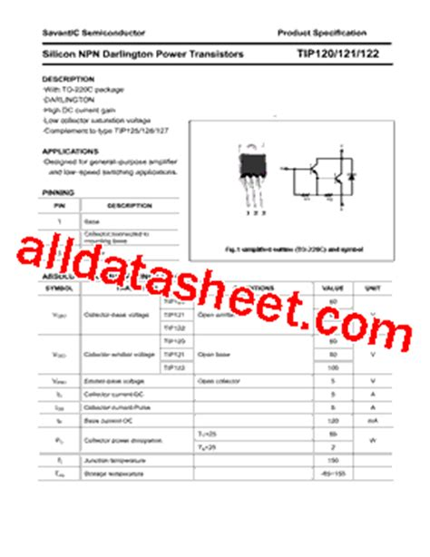 transistor darlington tip121 tip121 datasheet pdf savantic inc
