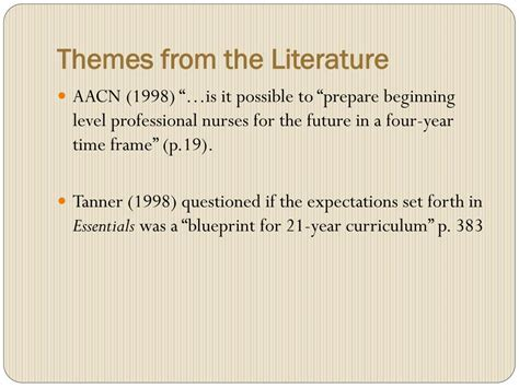 themes in literature about change ppt a need for change in nursing education powerpoint