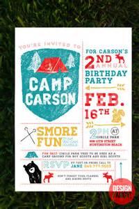 camping birthday invitation by designfancyparty on etsy