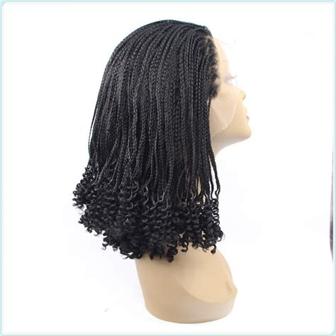 afrian amerian wigs with micro braids avril glueless yaki twist braided synthetic lace front