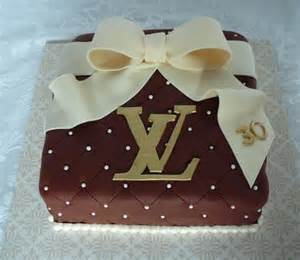 lv birthday cake with white chocolate bow jpg