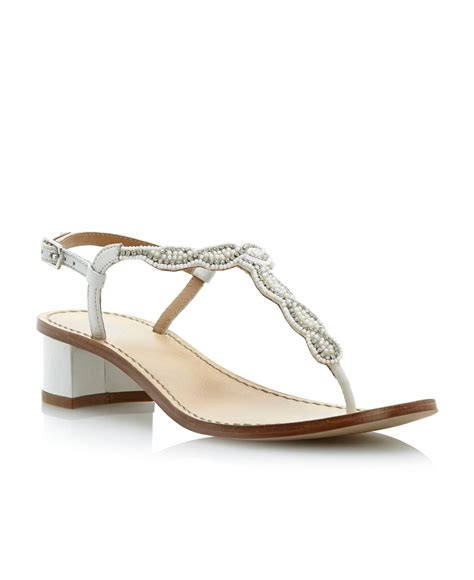 heeled sandal dune fuji beaded low block heel sandals in white lyst