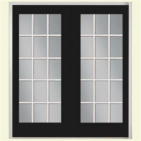 Masonite Patio Door Masonite 72 In X 80 In Jet Black Fiberglass Prehung Right Inswing 15 Lite Gbg Patio Door