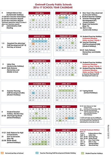 County Schools Calendar Gwinnett County School Calendar 2016 17