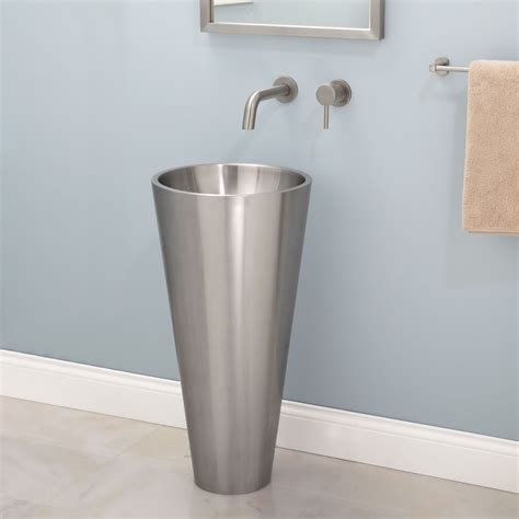 bathroom sink pedestal almeda stainless steel pedestal sink bathroom