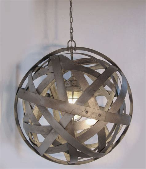 Orbits Urban Chandelier Recycled Wine Barrel Metal Hoops Barrel Light Fixtures