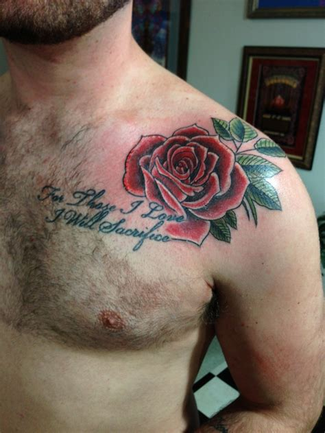 rose tattoo chest piece colored chest tattoos chest