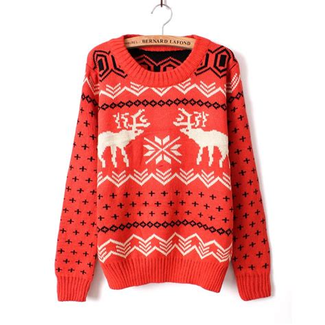knitting pattern snowflake jumper christmas reindder deer snowflake knit sweater jumper ebay
