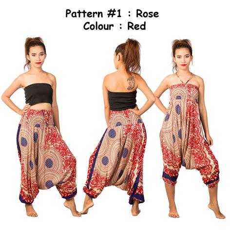 Denim 2in1 Jumpsuit womens flowy harem hareem baggy hippie 2in1 jumpsuit trousers ebay