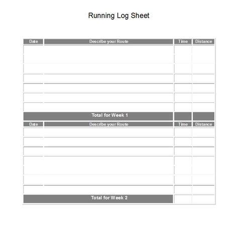 running log template printable running log sheet printable fitness logs