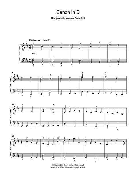 pachelbel s canon in d major sheet music by johann