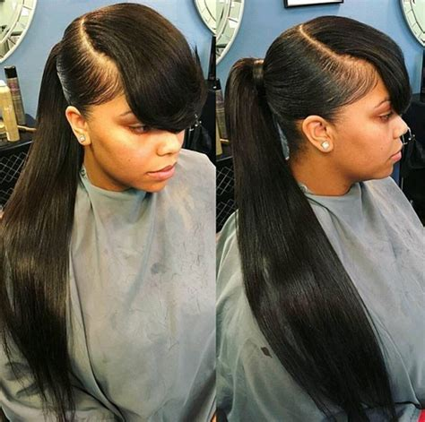 hair swoop to the side slick back on one side for african american women quot theextramile quot long pony and bangs natural hair