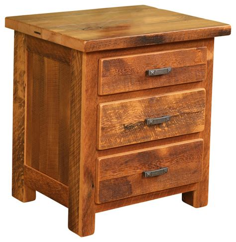 bedside l end table nightstand with 3 drawers usb pioneer nightstand reclaimed barn wood three drawer