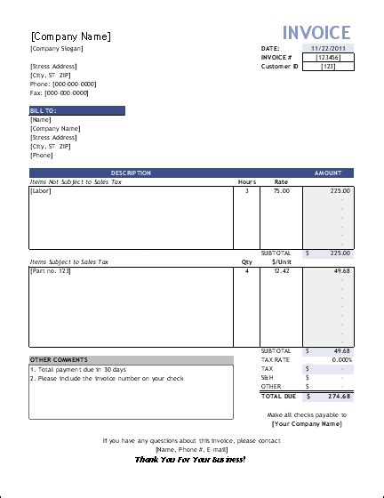 free service invoice template for consultants and service