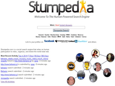 Powered Search Engine Stumpedia The Social Powered Search Engine Orangeinks