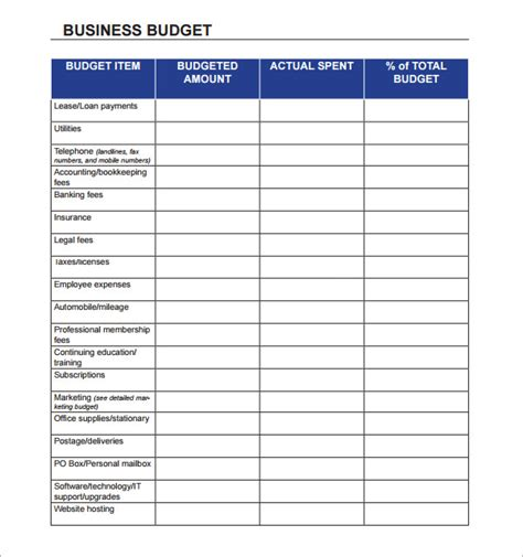 business budget template sle business budget 9 documents in pdf excel
