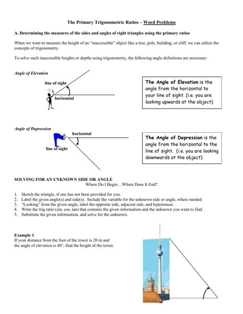 Angles Word Problems Worksheet by 100 Angle Of Elevation And Depression Word Problems