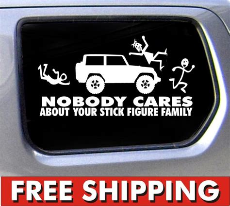 jeep family stickers stick figure family sticker for jeep nobody cares truck