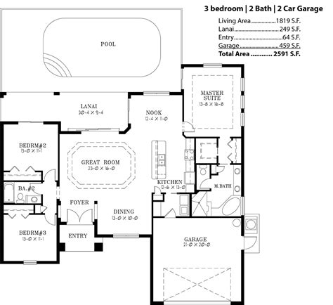 3 bedroom 2 bath 2 car garage floor plans palm island harbor home builders