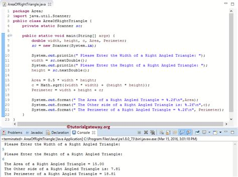 right triangle pattern java java program to find area of a right angled triangle