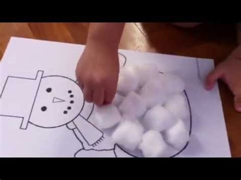 Cotton Arts 1 cotton snowman craft at 2 years 5 mths