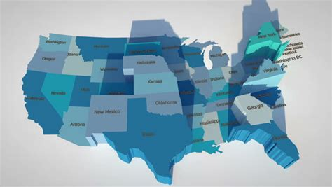 3d map of the united states 3d map usa footage stock