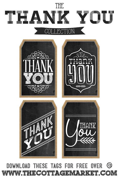 printable thank you tags pinterest free printable thank you chalkboard tags printables