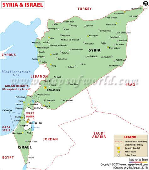 syria map of map of syria and israel