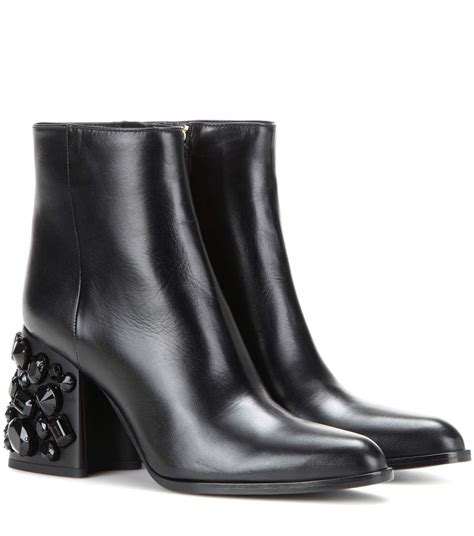 Embellished Leather Boots marni embellished leather ankle boots mytheresa