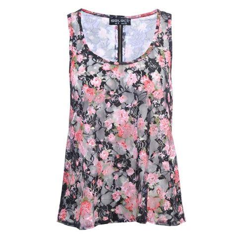 Flowery Top black floral print lace vest top polyvore