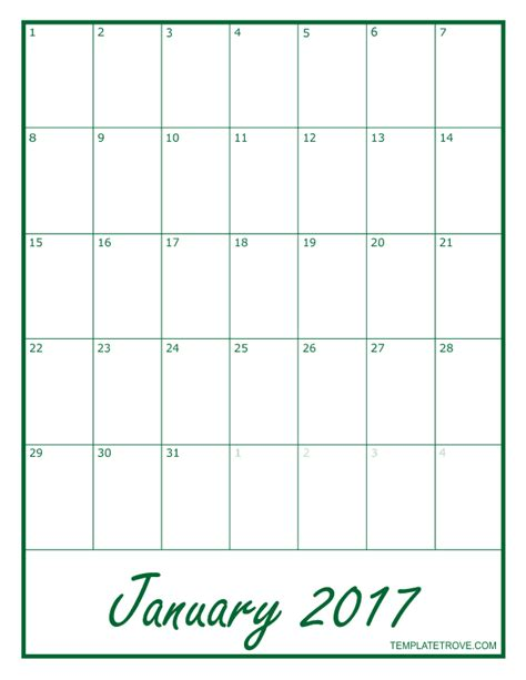 Calendar 2017 Monthly 2017 Blank Monthly Calendar