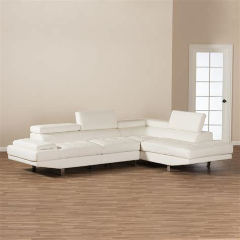 2 piece modern contemporary white faux leather sectional baxton studio selma 2 piece modern white faux leather