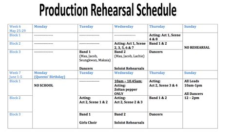 Music Tis We Could Be Heroes Rehearsal Schedule Rehearsal Schedule Template
