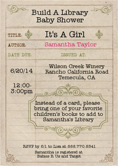 Library Card Baby Shower Invitation by Library Card Baby Shower Invitations Candles And Favors