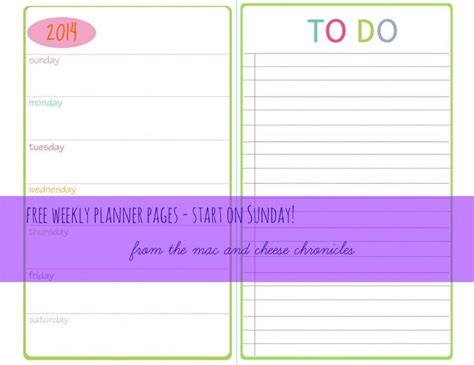 half size printable planner pages sunday start printable weekly planner pages full and