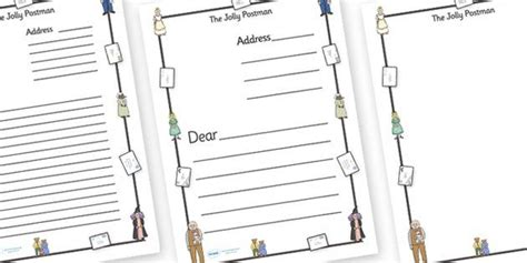 The Jolly Postman Letter Templates A4 Blue Postman Jolly Letter Templates Janet Ahlberg Letter To Template Eyfs