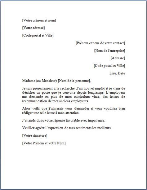 Lettre De Recommandation Recrutement modele lettre de recommandation pour emploi