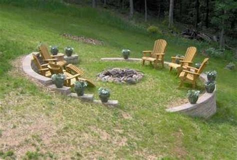 How To Level Backyard Slope by Sloped Yard Bonfire Pit Dering Landscape Garden