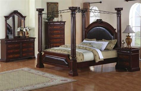 two tone finish 5pc classic bedroom set w canopy bed